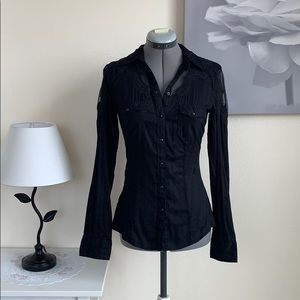 Black long sleeve top with lace detailing
